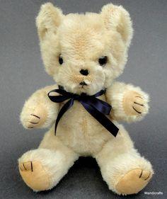 Shanghai Doll Factory Teddy Bear White Wool Plush Vintage 1950s 60s Glass Eyes