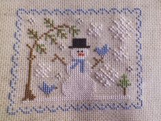 SNOWMAN CROSS STITCH FINISHED COMPLETE