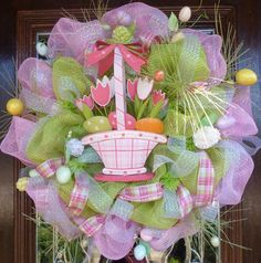 EASTER WREATH with BASKET of Tulips by decoglitz on Etsy