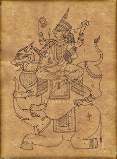 Mysore Painting, Kalamkari Painting, Pichwai Paintings, Indian Art Paintings, Shiva Art, Krishna Art, Backpiece Tattoo, Indian Traditional Paintings, Indian Arts And Crafts