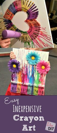 Looking for a great gift idea or something to keep the kids busy for an afternoon? This crayon art is a fun,easy Looking for a great gift idea or something to keep the kids busy for an afternoon? This crayon art is a fun,easy & inexpensive project. Diy Crayons, Melting Crayons, Crayon Crafts, Melting Crayon Canvas, How To Make Crayons, Crafts With Crayons, Crayon Canvas Art, Kids Canvas Art, Blank Canvas