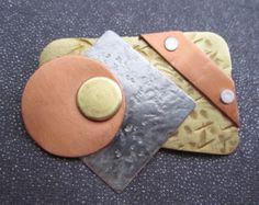 Mixed Metal Geometric Brooch, riveted, modernist jewelry
