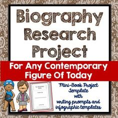 Use this biography research project over and over again to study any contemporary figure of today.  The print-and-go mini-book format is perfect for your unit on modern inventors, current events, modern authors and famous people of our present day.  Each mini-book comes with a printable cover and is three pages, folded as a book.