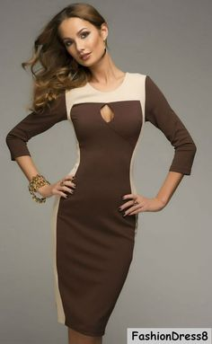 Elegant Cacao Brown Dress Jersey ,Sexy Pencil Dress Day Length Knee.