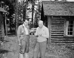 Republican presidential nominee Dwight D. Eisenhower shows his running mate, Richard Nixon, how to cast for fish at Eisenhower's vacation retreat near Fraser, Colo., on July 27, 1952. (AP)