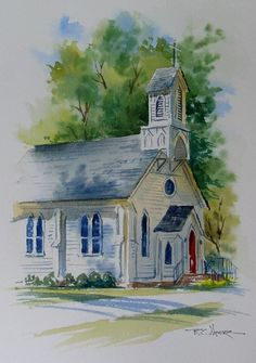 White church with soft edges. Love the sky and front lawn especially. White church with soft edges. Art Aquarelle, Art Watercolor, Watercolor Landscape Paintings, Watercolor Illustration, Watercolor Architecture, Old Churches, Art Impressions, Urban Sketching, Painting Techniques