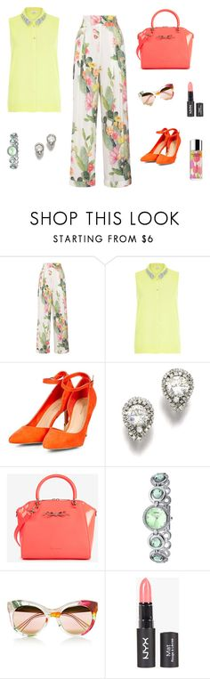 """""""In bloom"""" by julie4ever ❤ liked on Polyvore featuring Matthew Williamson, River Island, Ted Baker, Miss Girl, Gucci, Clinique, yellow, red, floralprint and summer2015"""