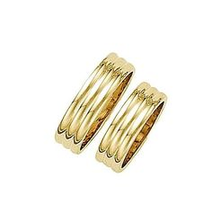3 Ribbed 14kt Yellow Gold 6mm Wedding Band
