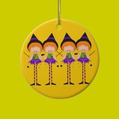 Cute Halloween Cartoon Witches Ornament