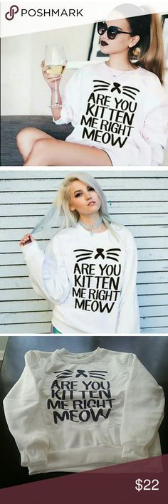 """Are You Kitten Me Right Meow? Sweatshirt Darling play on words sweatshirt for all of you cat lovers!    New fron distributor. Runs small.   MEDIUM  measures 17"""" armpit to armpit laying flat. 22"""" length back of neck to bottom.   LARGE measures 20"""" armpit to armpit laying flat, 23 5"""" length. Tops Sweatshirts & Hoodies"""