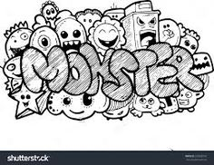 Doodle art monster simple wall graffiti ideas for bedroom learn doodling name . Cute Doodle Art, Doodle Art Letters, Doodle Art Drawing, Cool Doodles, Doodle Art Journals, Graffiti Doodles, Graffiti Wall Art, Graffiti Lettering, Graffiti Quotes