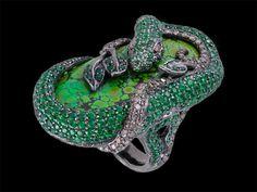 Lydia Courteille Snake Ring with DiamondTsavorite &Turquoise
