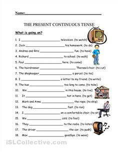 present simple or present continuous exercises  for kids pdf
