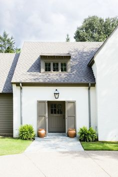LOVE this scheme - maybe should be whiter on body? exterior colors | olive green door looks a lot like Texas Leather