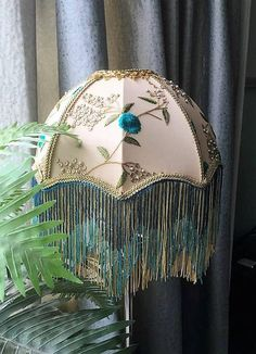 A Victorian lampshade, silk, embroidered, beaded, pearls, fringe, handsewn, handmade, cream, turquoise, glas beaded fringe, gold, 14 inches Shady Lady, Embroidered Silk, Fringes, Lamp Shades, Victorian Fashion, Lamp Light, Hand Sewing, Lamps, Turquoise