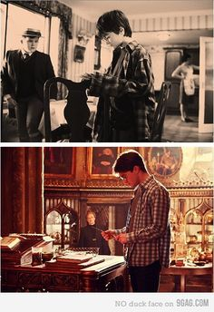 Harry Potter and the shirt that finally fit.  LOL!
