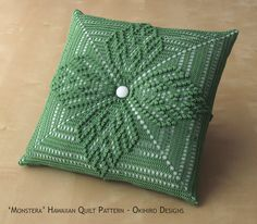 Tufted monstera hawaiian quilt pattern 12 crochet square pillow made to order double sided design custom colors