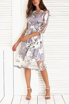 $19.61 Floral Print Voile Splicing 3/4 Sleeve Dress