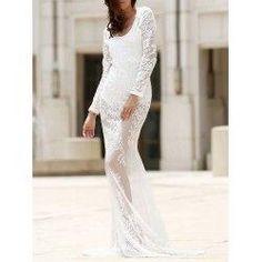 trendsgal.com - Trendsgal Plunging Neck Long Sleeve Lace Prom Dress - AdoreWe.com