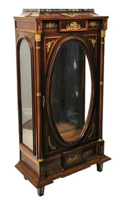 An empire style mahogany and marble vitrine with gilt bronze mounts, 19th Century