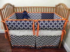 Custom Baby Bedding Set Navy Chevron White w/ Orange Trim