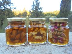 Greek Honey With Nuts Gift Sampler Set - All Natural & Organic - With Walnuts, Almonds & Pistachio Aeginis - 3 Jars Of - Each by Melirrous on Gourmly Gourmet Gifts, The Dish, Pistachio, Greek, Honey, Organic, Dishes, Gift Sets, Natural Products