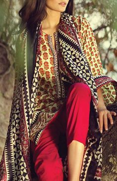 Buy Black/Red Embroidered Cotton Lawn Dress Dress by Sana Safinaz Spring/Summer Collection 2015.