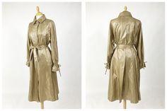 Vintage 1980s golden bronze satin raincoat - size M by Cavallienastri on Etsy https://www.etsy.com/listing/499018575/vintage-1980s-golden-bronze-satin