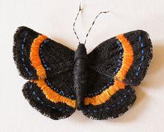 Butterfly Statement Fiber Art Brooch Metalmark by BlueTerracotta