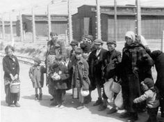 Birkenau, Poland, Jewish women and children walking to the gas chambers, 05/1944.