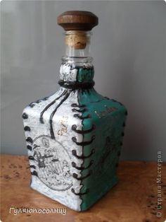 Декор предметов Валентинов день Витраж Бутылочка в мешочке Бутылки стеклянные фото 1