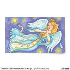 Cartoon Christmas Musician Angel Playing Her Horn