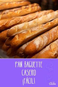 Pan Baguette Receta, Types Of Bread, Pan Bread, Moist Cakes, Hot Dog Buns, Love Food, Bakery, Sandwiches, Recipies