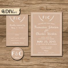 PRINTABLE DIY Wedding Invitation Suite, Response Card, Initial - rustic, countrry, kraft paper, brown paper or any color - Francesca - by DIVart