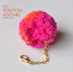 DIY Pom Pom Keychain, Pom Pom Key Fob, Clover Pom pom maker, lobster claw, gold chain, Pink Orange pom, easy craft, DIY pom bag charm add ball trim to bag,