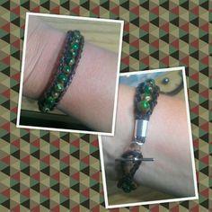 Malachite leather wrap blacelet $25