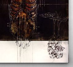 NUNZIO PACI nunziopaci:  Title: Rhizoma Dim: cm 100x100  Tecnique: pencil, oil, enamel, resins, bitumen on canvas Year: 2012