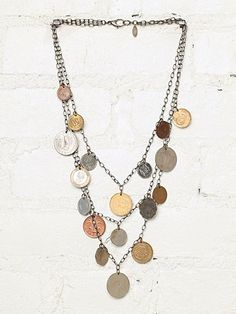 Vintage Layered Coin Necklace - I can make this Coin Jewelry, Coin Necklace, Crystal Necklace, Jewelry Crafts, Beaded Jewelry, Jewelery, Silver Jewelry, Handmade Jewelry, Jewelry Necklaces