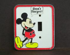 Vintage Mickey Mouse Plastic Wall Plate Light Switch Cover Disney Child's Room
