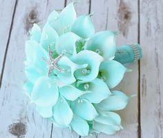 Silk Flower Wedding Bouquet Turquoise Mint Teal by Wedideas