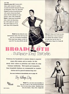 Stylish summertime broadcloth fashions, 1950. #vintage #1950s #dresses