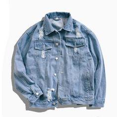 Light Blue Lapel Long Sleeve Cartoon Print Denim Jacket