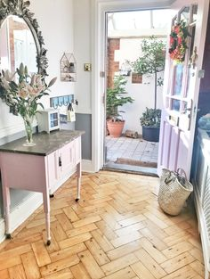 Pink front door opening onto parquet floor hallway with vintage pink Victorian washstand and ornate oval mirror Hallway Decorating, Interior Decorating, Decorating Ideas, Grey Hallway, Hallway Designs, Hallway Ideas, Dark Interiors, Cottage Interiors, Hotel Room Design