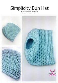 This easy crochet bun hat features easy crochet stitches for a quick construction