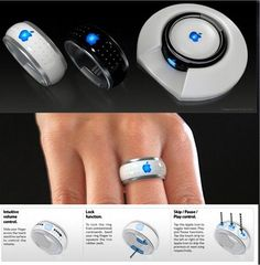 Might have to buy apple products just for this! One ring to to rule them all. One ring to bind them.One iRing to control all your Apple media devices. Now that's cool! Cool Technology, Technology Gadgets, Futuristic Technology, Energy Technology, Medical Technology, Business Technology, Technology Design, Accessoires Iphone, Tech Toys