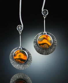 Bumble Bee Jasper Earrings. Fabricated Sterling Silver. www.amybuettner.com