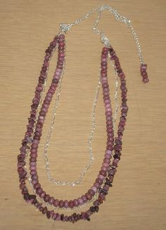 Genuine Rhodonite with chains necklace by CreationsbyMaryEllen, $24.99