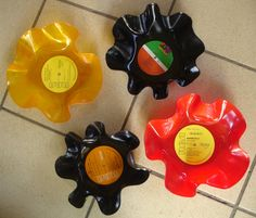 Fruteros diseñados a partir de discos de vinilo. #reutilizar // #fruitbasket #reuse