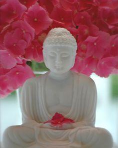 Buddha and pink flowers