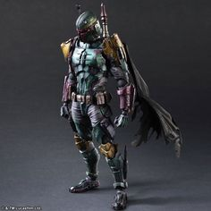 """Spotted by the Boba Fett Fan Club this morning on Instagram, here are newly released promotional photos of the Play Arts Kai (Square Enix) Boba Fett. It's made of PVC, comes fully painted, and is about 6"""" (150mm) wide, 10.25"""" (260mm) tall, and has a depth of 3.5"""" (90mm). It retails for $100 (12,000 Yen) ..."""